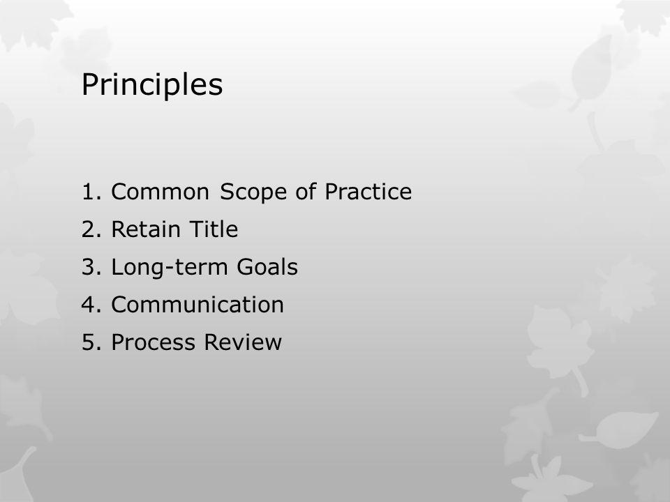 Principles 1. Common Scope of Practice 2. Retain Title 3. Long-term Goals 4. Communication 5. Process Review