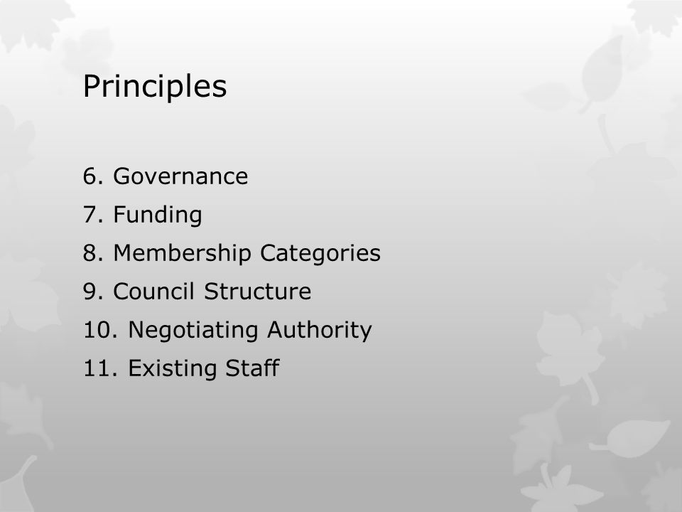 Principles 6. Governance 7. Funding 8. Membership Categories 9. Council Structure 10. Negotiating Authority 11. Existing Staff