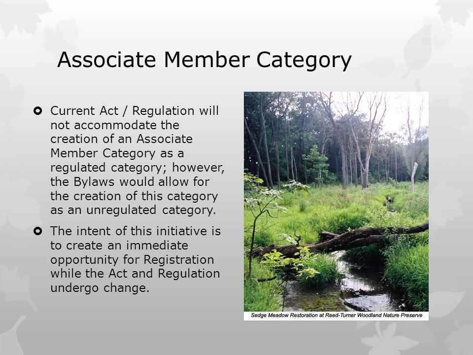 Associate Member Category  Current Act / Regulation will not accommodate the creation of an Associate Member Category as a regulated category; however, the Bylaws would allow for the creation of this category as an unregulated category.