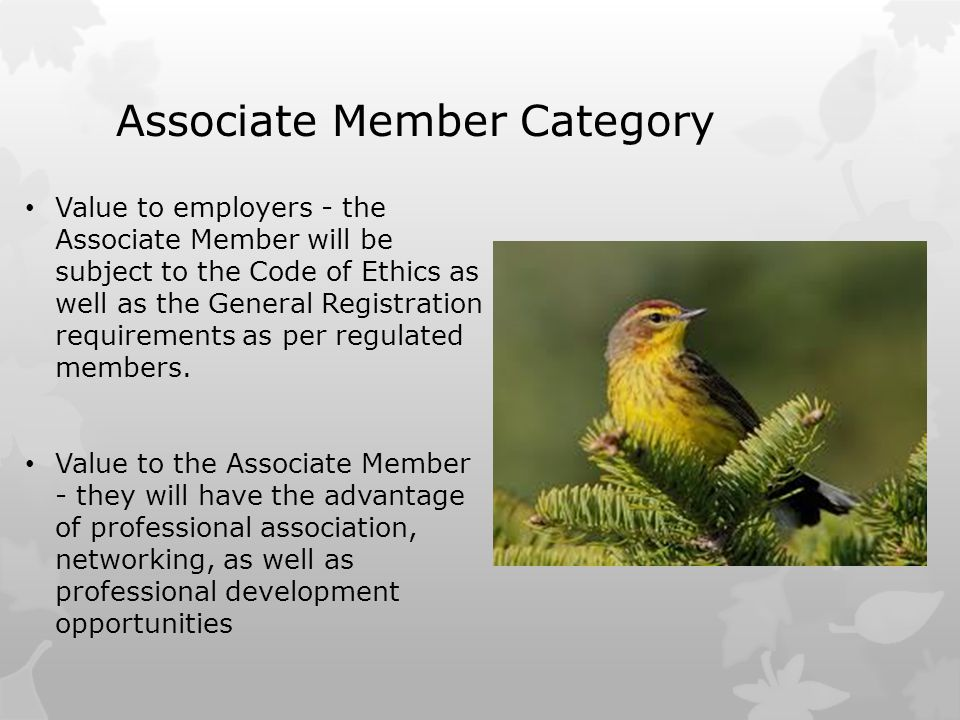 Associate Member Category Value to employers - the Associate Member will be subject to the Code of Ethics as well as the General Registration requirem