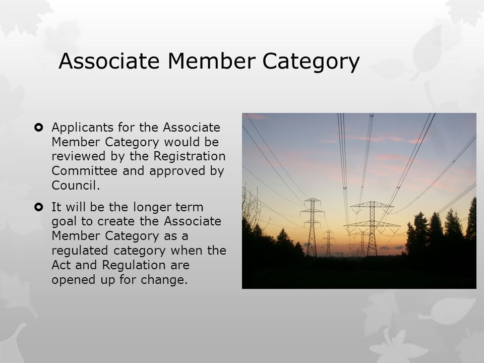 Associate Member Category  Applicants for the Associate Member Category would be reviewed by the Registration Committee and approved by Council.