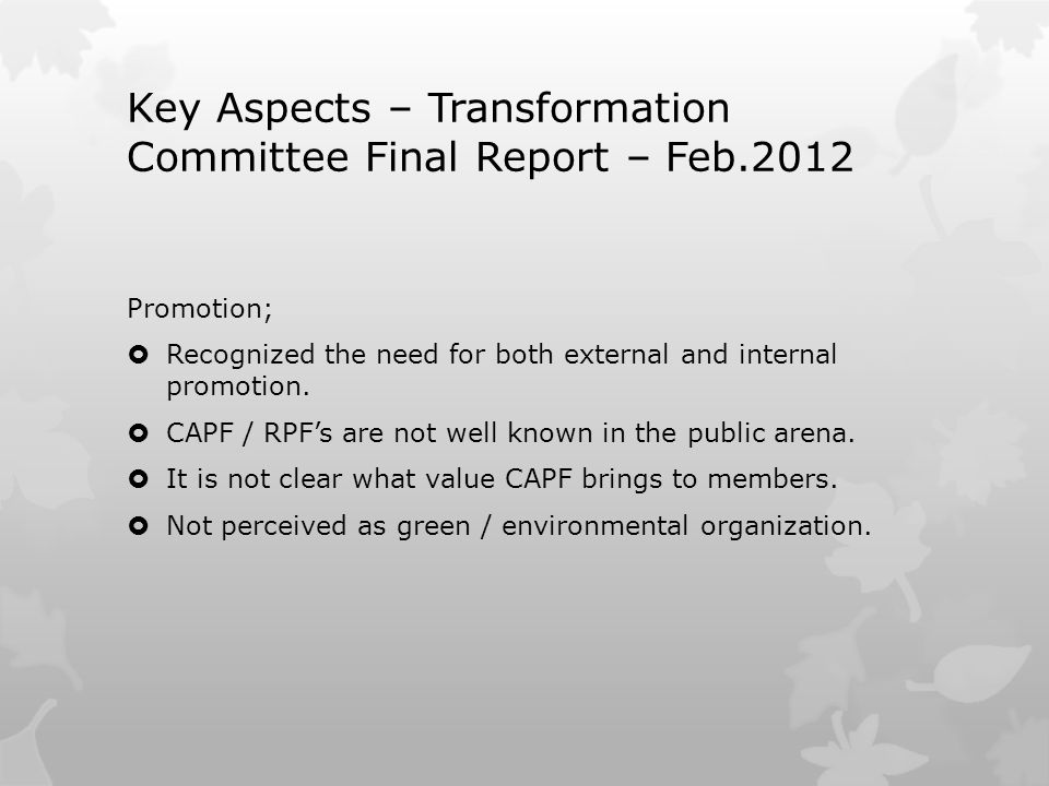 Key Aspects – Transformation Committee Final Report – Feb.2012 Promotion;  Recognized the need for both external and internal promotion.  CAPF / RPF