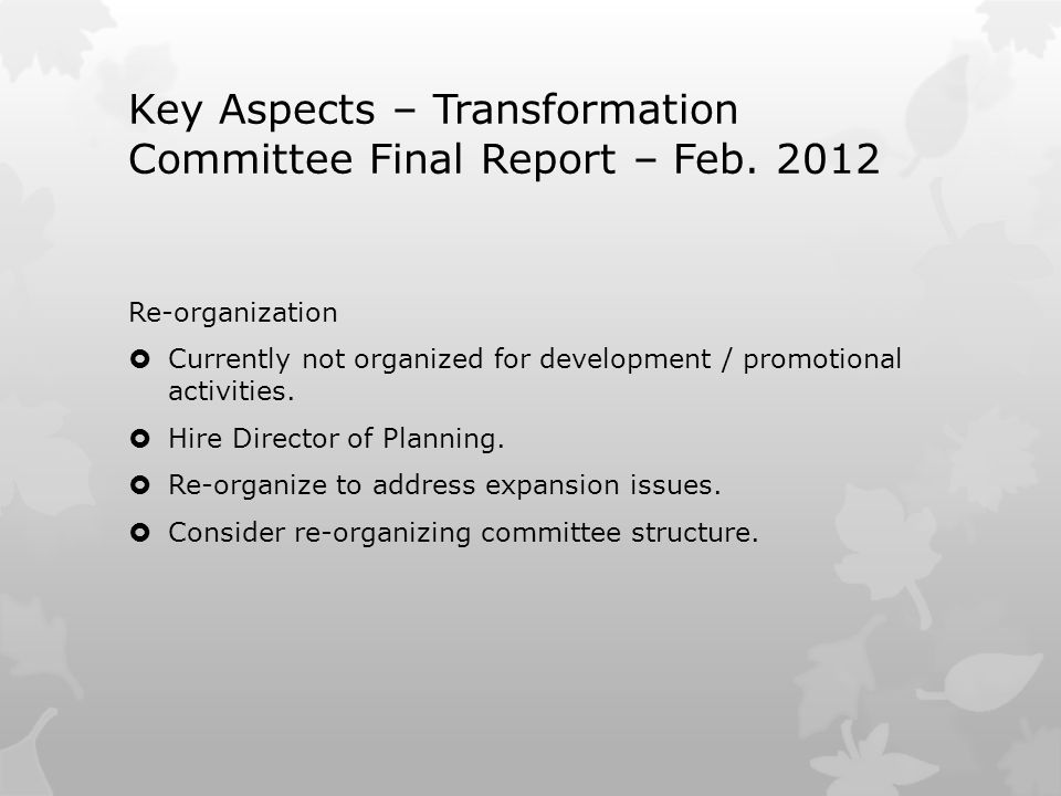 Key Aspects – Transformation Committee Final Report – Feb. 2012 Re-organization  Currently not organized for development / promotional activities. 