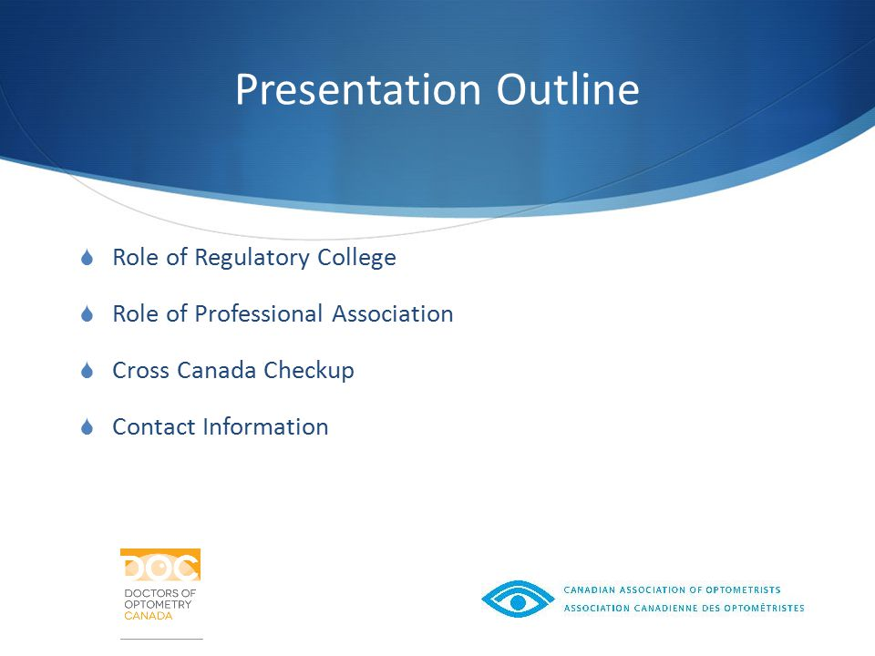Presentation Outline  Role of Regulatory College  Role of Professional Association  Cross Canada Checkup  Contact Information