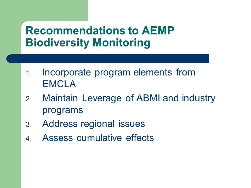 Recommendations to AEMP Biodiversity Monitoring 1.