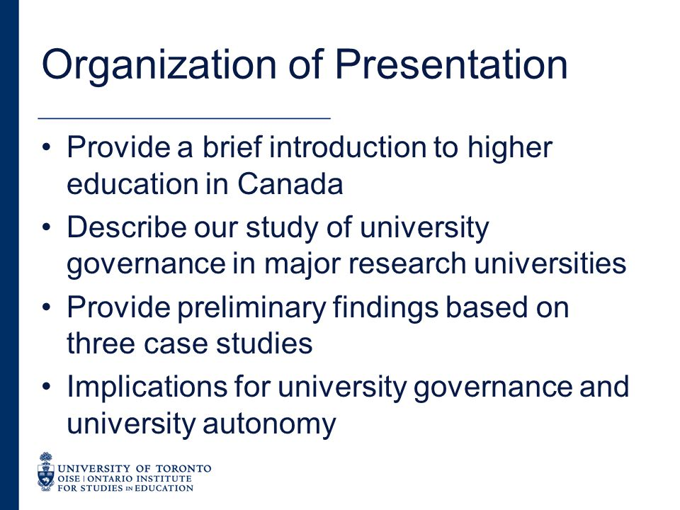 Canada Federation created in 1867 Division of responsibility between federal government and provinces – provinces assigned responsibility for education No national higher education policy, no national ministry Federal government plays a major role in research policy, student loans, culture and language