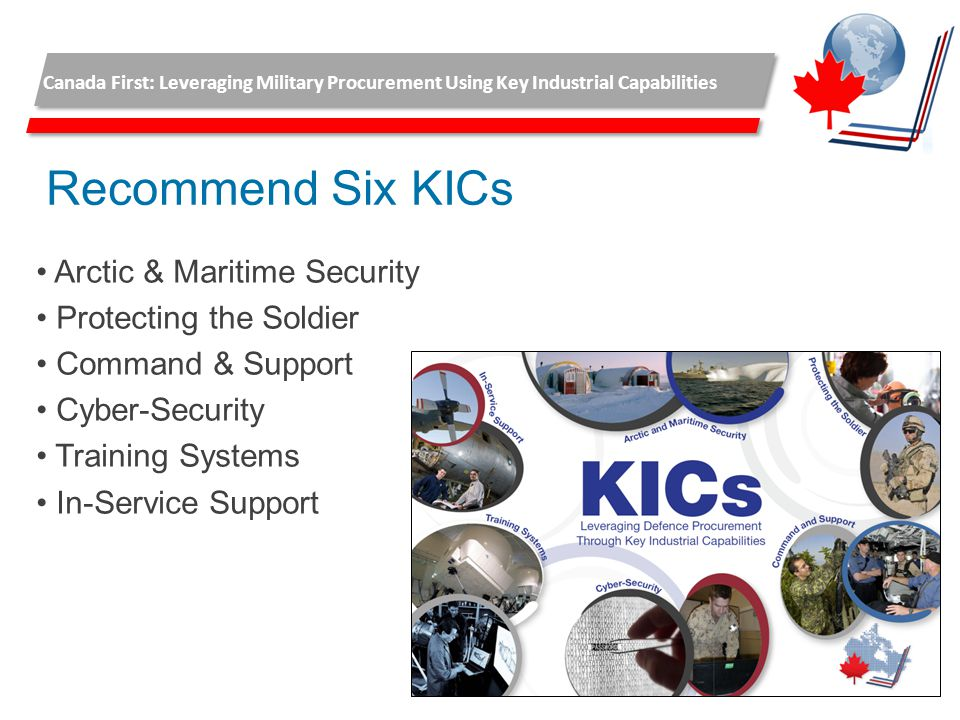 Recommend Six KICs Arctic & Maritime Security Protecting the Soldier Command & Support Cyber-Security Training Systems In-Service Support Canada First