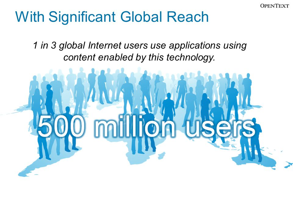 Copyright © Open Text Corporation 2008 - 2009. All rights reserved. Slide 7 With Significant Global Reach 1 in 3 global Internet users use application