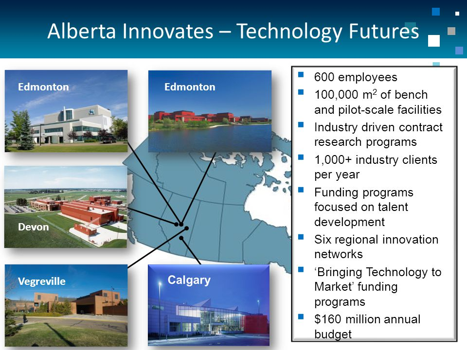 Edmonton Devon  600 employees  100,000 m 2 of bench and pilot-scale facilities  Industry driven contract research programs  1,000+ industry clients per year  Funding programs focused on talent development  Six regional innovation networks  'Bringing Technology to Market' funding programs  $160 million annual budget Vegreville Alberta Innovates – Technology Futures
