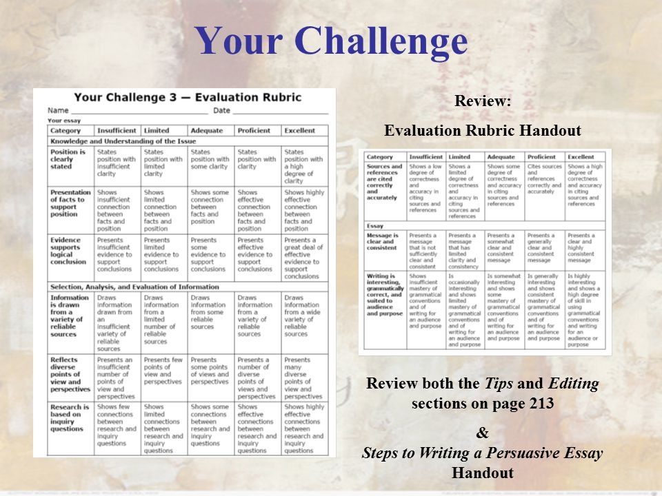 Your Challenge Review: Evaluation Rubric Handout Review both the Tips and Editing sections on page 213 & Steps to Writing a Persuasive Essay Handout