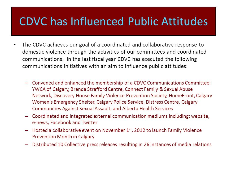CDVC has Influenced Public Attitudes The CDVC achieves our goal of a coordinated and collaborative response to domestic violence through the activities of our committees and coordinated communications.