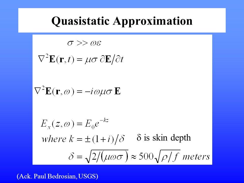 Quasistatic Approximation (Ack. Paul Bedrosian, USGS)  is skin depth