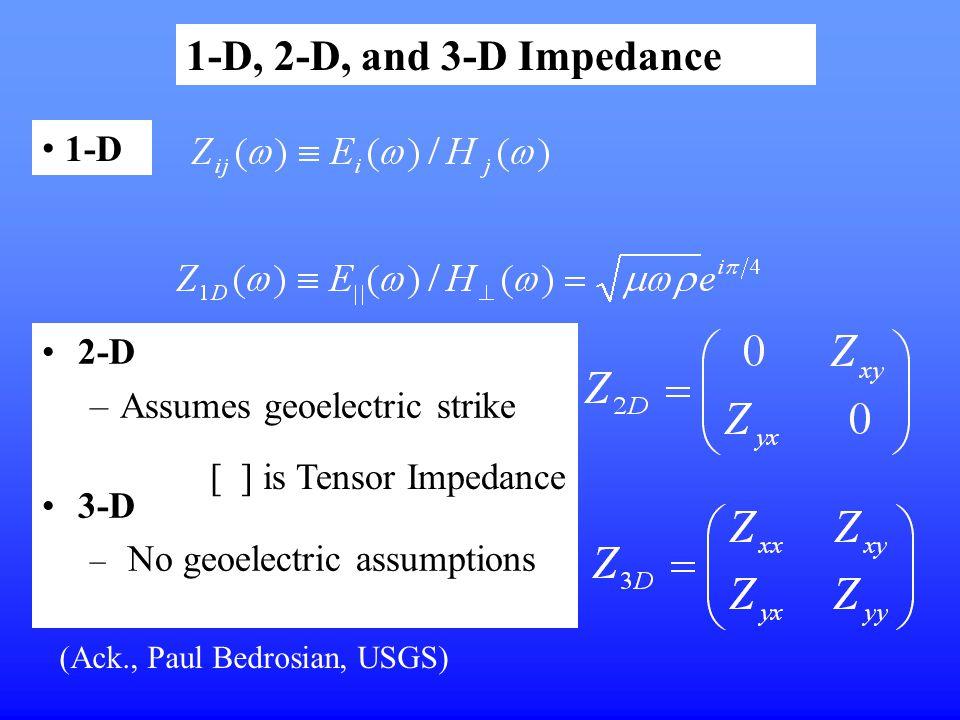 2-D –Assumes geoelectric strike 3-D – No geoelectric assumptions 1-D, 2-D, and 3-D Impedance 1-D [ ] is Tensor Impedance (Ack., Paul Bedrosian, USGS)
