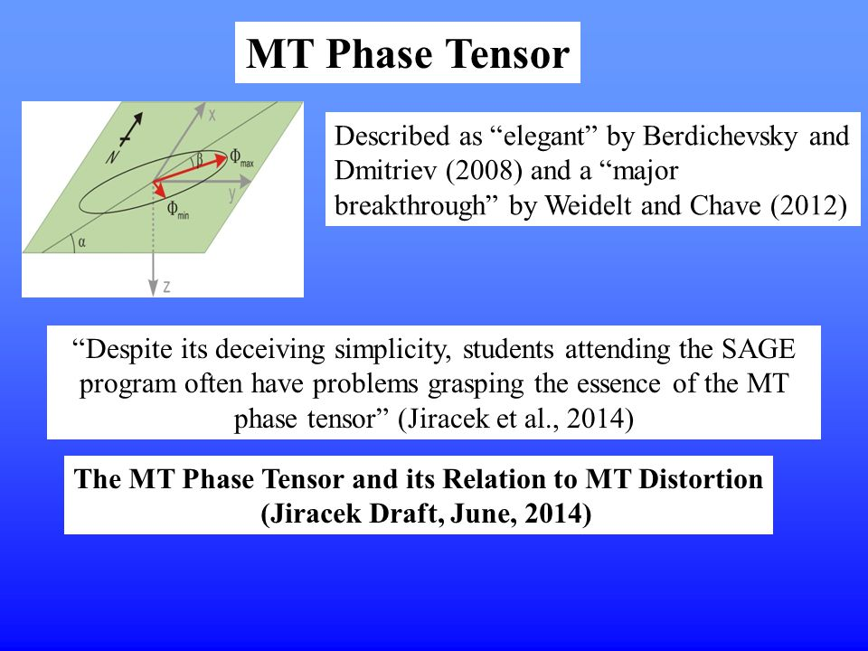 """The MT Phase Tensor and its Relation to MT Distortion (Jiracek Draft, June, 2014) Described as """"elegant"""" by Berdichevsky and Dmitriev (2008) and a """"ma"""