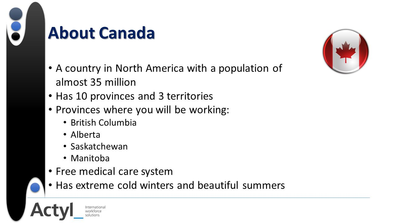 About Canada A country in North America with a population of almost 35 million Has 10 provinces and 3 territories Provinces where you will be working: British Columbia Alberta Saskatchewan Manitoba Free medical care system Has extreme cold winters and beautiful summers