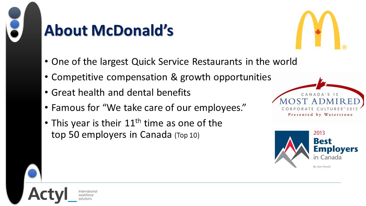 About McDonald's One of the largest Quick Service Restaurants in the world Competitive compensation & growth opportunities Great health and dental benefits Famous for We take care of our employees. This year is their 11 th time as one of the top 50 employers in Canada (Top 10)