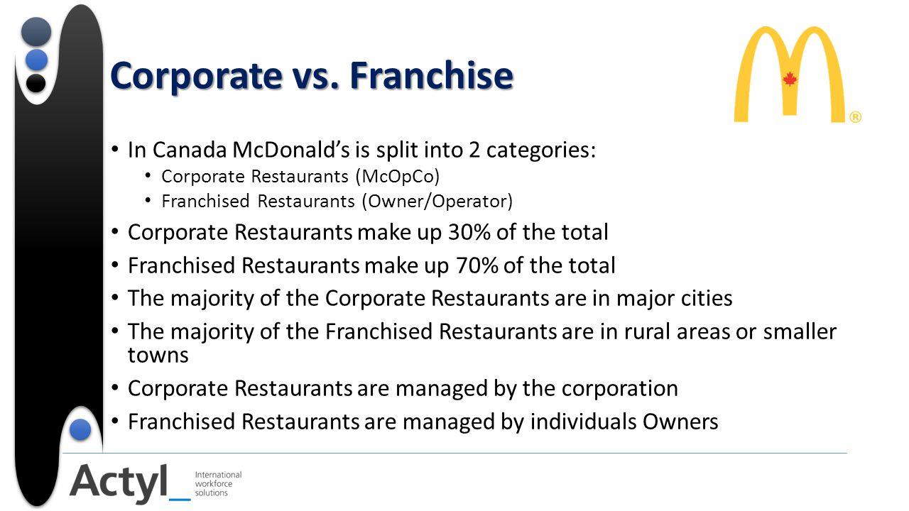Corporate vs. Franchise In Canada McDonald's is split into 2 categories: Corporate Restaurants (McOpCo) Franchised Restaurants (Owner/Operator) Corpor