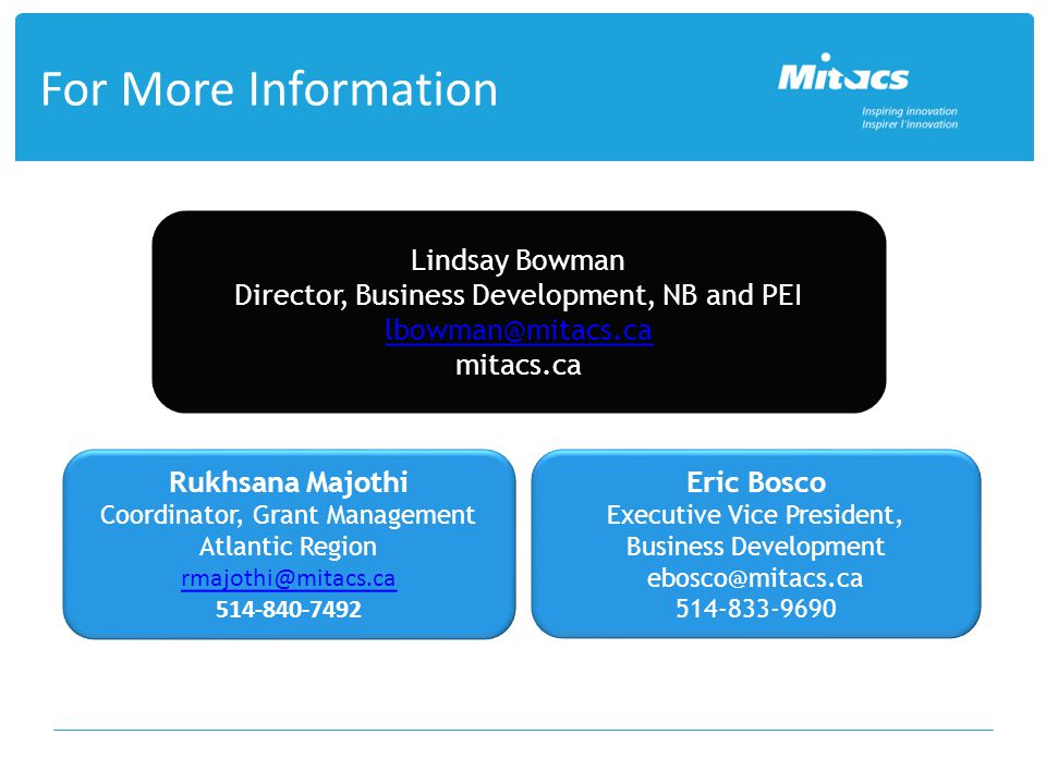 For More Information Lindsay Bowman Director, Business Development, NB and PEI lbowman@mitacs.ca mitacs.ca Rukhsana Majothi Coordinator, Grant Managem