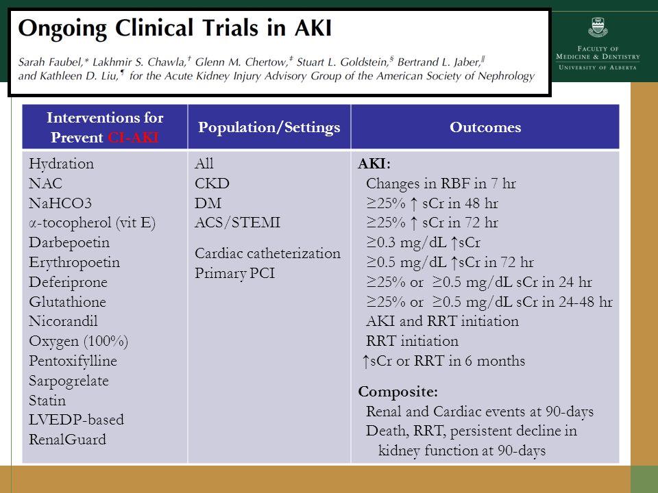 Interventions for Prevent CSA-AKIOutcomes Drug Therapy Interventions: Acetaminophen Statin (atorvastatin) Erythropoetin NAC, NaHCO3, NAC + NaHCO3 Propofol Rasburicase Selenium Fenoldopam Minocycline Remote Ischemic Preconditioning Process Interventions: Tight glycemic control Transfusion triggers Hypo/normothermic CPB Preoperative RRT or intraop UF Oxidative Stress (F2isoP) Drug pharmacokinetics Safety SOFA score AKI by : RIFLE/AKIN classification Δ sCr at 2, 3, 4, 5 days Δ cystatin C Δ eGFR Biomarkers (NGAL) ACS plus AKI TnI release plus AKI Composite: ACS, stroke or AKI Death, AKI and complications MACE (including AKI)