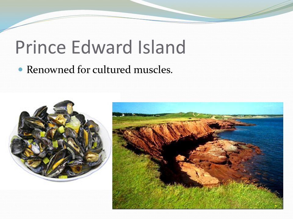 Prince Edward Island Renowned for cultured muscles.