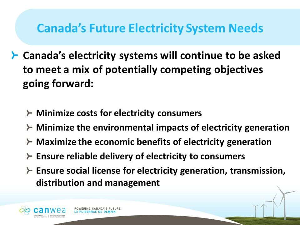 Canada's Future Electricity System Needs Canada's electricity systems will continue to be asked to meet a mix of potentially competing objectives going forward: Minimize costs for electricity consumers Minimize the environmental impacts of electricity generation Maximize the economic benefits of electricity generation Ensure reliable delivery of electricity to consumers Ensure social license for electricity generation, transmission, distribution and management