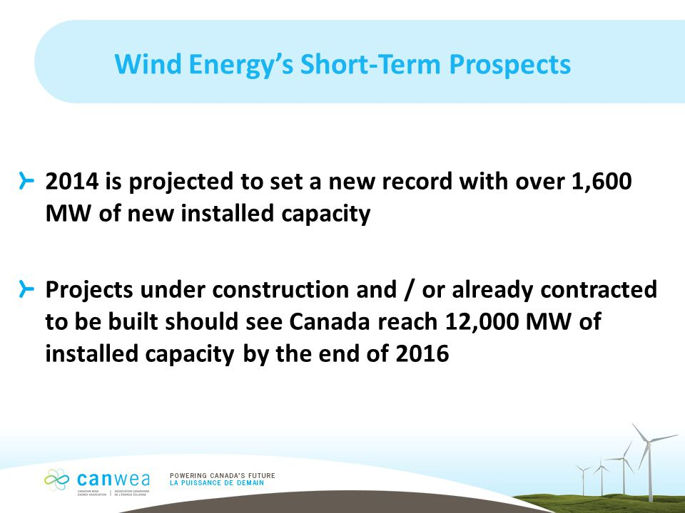 Wind Energy's Short-Term Prospects 2014 is projected to set a new record with over 1,600 MW of new installed capacity Projects under construction and / or already contracted to be built should see Canada reach 12,000 MW of installed capacity by the end of 2016