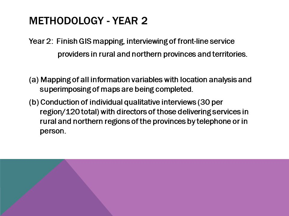 METHODOLOGY - YEAR 2 Year 2: Finish GIS mapping, interviewing of front-line service providers in rural and northern provinces and territories.