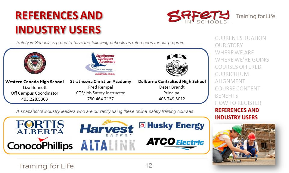 Safety in Schools is proud to have the following schools as references for our program: A snapshot of industry leaders who are currently using these online safety training courses: REFERENCES AND INDUSTRY USERS CURRENT SITUATION OUR STORY WHERE WE ARE WHERE WE'RE GOING COURSES OFFERED CURRICULUM ALIGNMENT COURSE CONTENT BENEFITS HOW TO REGISTER REFERENCES AND INDUSTRY USERS Western Canada High School Liza Bennett Off Campus Coordinator 403.228.5363 Western Canada High School Liza Bennett Off Campus Coordinator 403.228.5363 Strathcona Christian Academy Fred Rempel CTS/Job Safety Instructor 780.464.7137 12 Delburne Centralized High School Deter Brandt Principal 403.749.3012