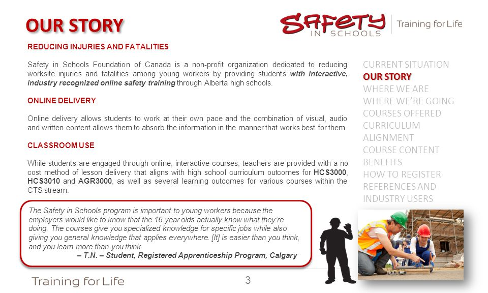 OUR STORY REDUCING INJURIES AND FATALITIES Safety in Schools Foundation of Canada is a non-profit organization dedicated to reducing worksite injuries and fatalities among young workers by providing students with interactive, industry recognized online safety training through Alberta high schools.