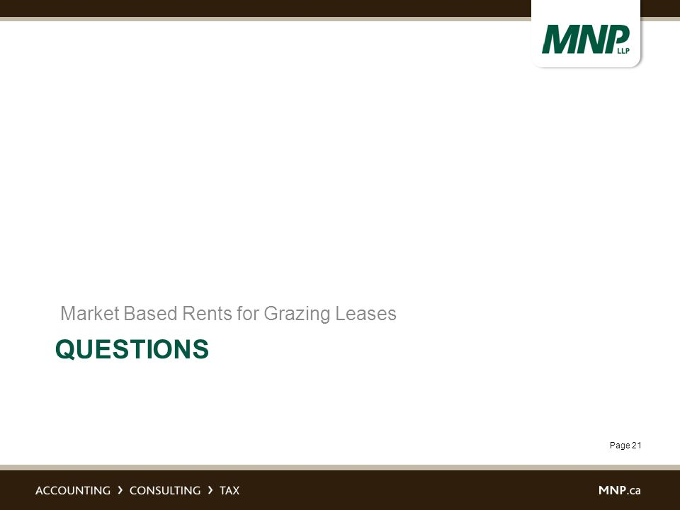 Page 21 QUESTIONS Market Based Rents for Grazing Leases