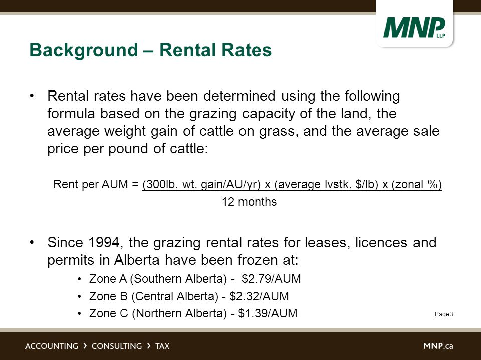 Page 3 Background – Rental Rates Rental rates have been determined using the following formula based on the grazing capacity of the land, the average weight gain of cattle on grass, and the average sale price per pound of cattle: Rent per AUM = (300lb.