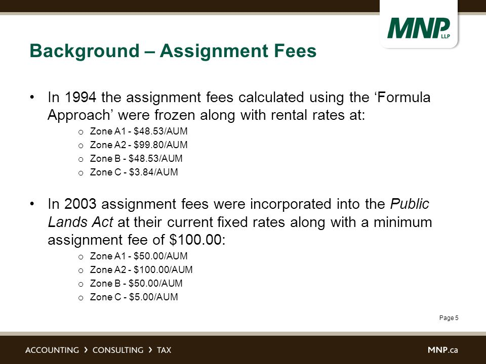 Page 5 Background – Assignment Fees In 1994 the assignment fees calculated using the 'Formula Approach' were frozen along with rental rates at: o Zone A1 - $48.53/AUM o Zone A2 - $99.80/AUM o Zone B - $48.53/AUM o Zone C - $3.84/AUM In 2003 assignment fees were incorporated into the Public Lands Act at their current fixed rates along with a minimum assignment fee of $100.00: o Zone A1 - $50.00/AUM o Zone A2 - $100.00/AUM o Zone B - $50.00/AUM o Zone C - $5.00/AUM