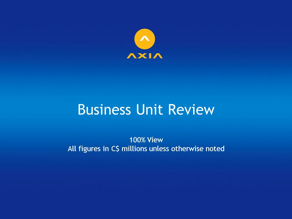 Business Unit Review 100% View All figures in C$ millions unless otherwise noted