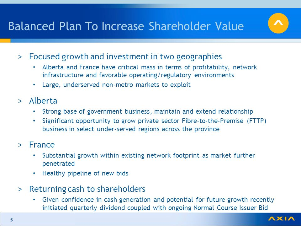 55 Balanced Plan To Increase Shareholder Value >Focused growth and investment in two geographies Alberta and France have critical mass in terms of profitability, network infrastructure and favorable operating/regulatory environments Large, underserved non-metro markets to exploit >Alberta Strong base of government business, maintain and extend relationship Significant opportunity to grow private sector Fibre-to-the-Premise (FTTP) business in select under-served regions across the province >France Substantial growth within existing network footprint as market further penetrated Healthy pipeline of new bids >Returning cash to shareholders Given confidence in cash generation and potential for future growth recently initiated quarterly dividend coupled with ongoing Normal Course Issuer Bid