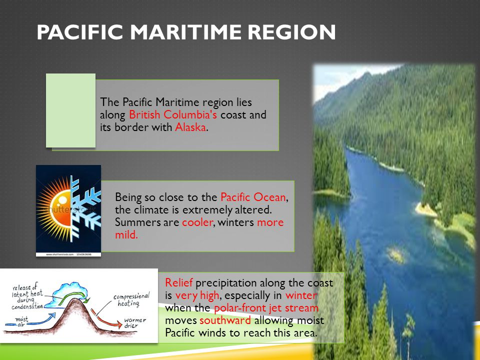 PACIFIC MARITIME REGION The Pacific Maritime region lies along British Columbia s coast and its border with Alaska.