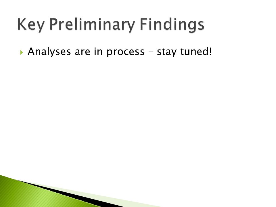  Analyses are in process – stay tuned!