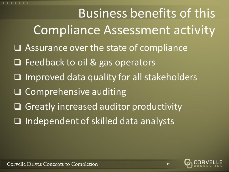 Corvelle Drives Concepts to Completion Business benefits of this Compliance Assessment activity  Assurance over the state of compliance  Feedback to