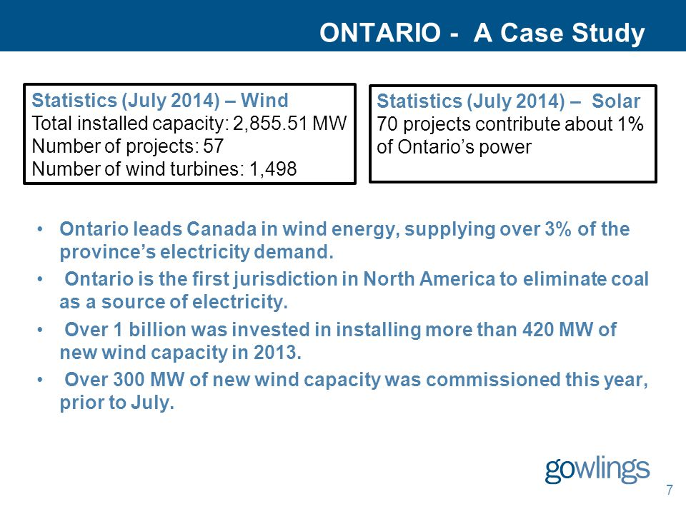 ONTARIO - A Case Study Ontario leads Canada in wind energy, supplying over 3% of the province's electricity demand. Ontario is the first jurisdiction
