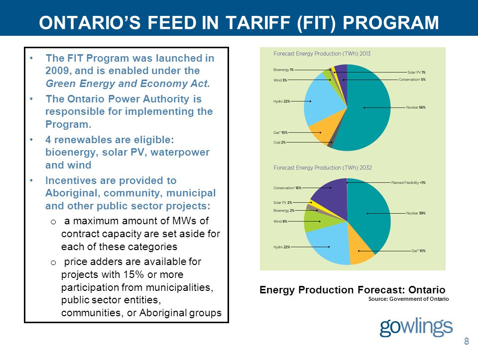 ONTARIO'S FEED IN TARIFF (FIT) PROGRAM 8 The FIT Program was launched in 2009, and is enabled under the Green Energy and Economy Act.