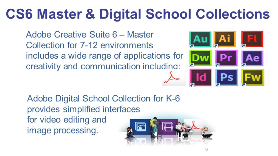 Adobe Creative Suite 6 – Master Collection for 7-12 environments includes a wide range of applications for creativity and communication including: 8 A