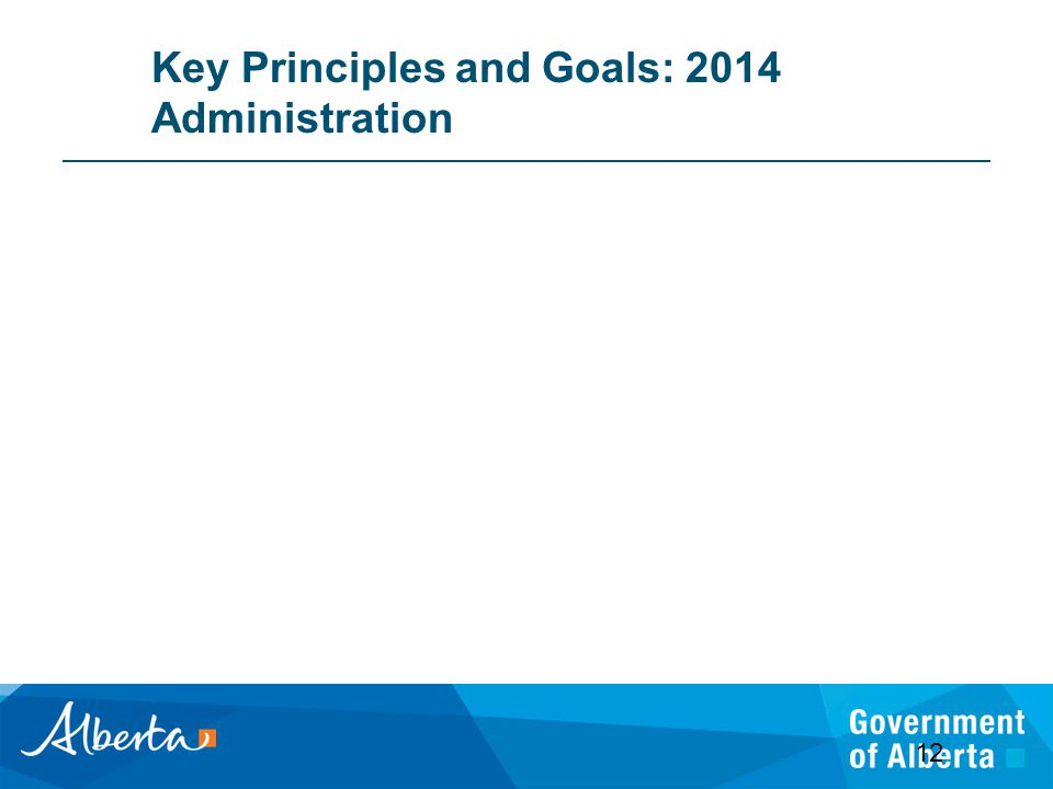 Key Principles and Goals: 2014 Administration 12