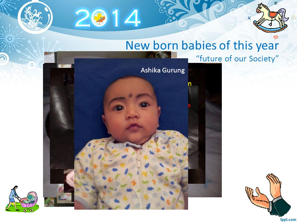 New born babies of this year future of our Society Aayan Sarki Anisa Timsina Divana Subedi Evan Bhujel Pratuish Timsina Shikha Gurung Sunima Bhujel Pranisha Sharma Sarins DhakalSabeel Lowgon Aanushka Gurung Aryana Nerula Ashika Gurung