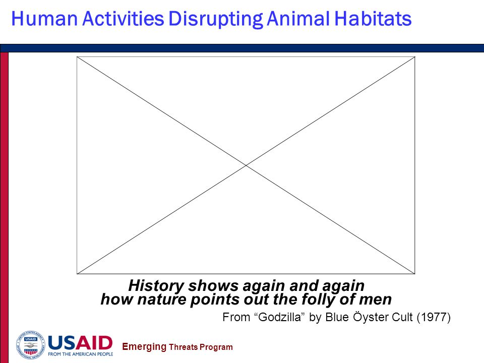 Emerging Threats Program Human Activities Disrupting Animal Habitats From the film Contagion, 2011, Warner Bros.