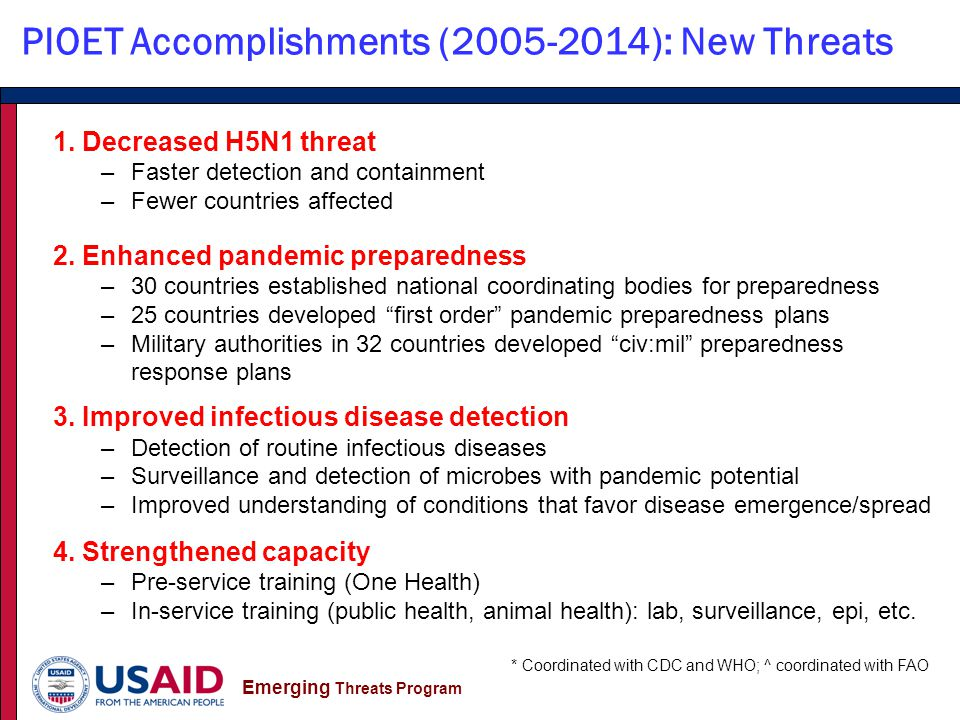 Emerging Threats Program PIOET Accomplishments (2005-2014): New Threats * Coordinated with CDC and WHO; ^ coordinated with FAO 1.