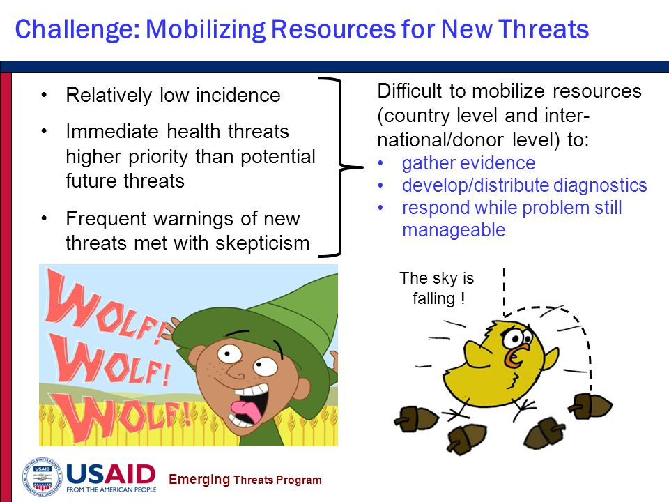 Emerging Threats Program Challenge: Mobilizing Resources for New Threats Relatively low incidence Immediate health threats higher priority than potential future threats Frequent warnings of new threats met with skepticism Difficult to mobilize resources (country level and inter- national/donor level) to: gather evidence develop/distribute diagnostics respond while problem still manageable The sky is falling !