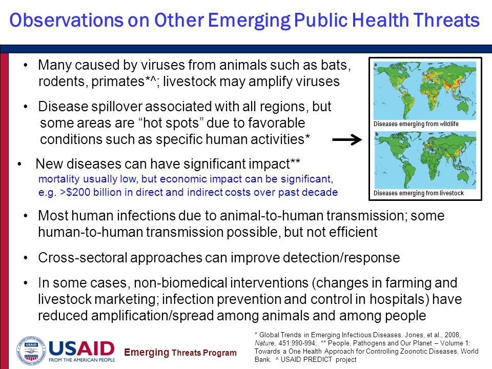Emerging Threats Program Many caused by viruses from animals such as bats, rodents, primates*^; livestock may amplify viruses Disease spillover associated with all regions, but some areas are hot spots due to favorable conditions such as specific human activities* New diseases can have significant impact** mortality usually low, but economic impact can be significant, e.g.