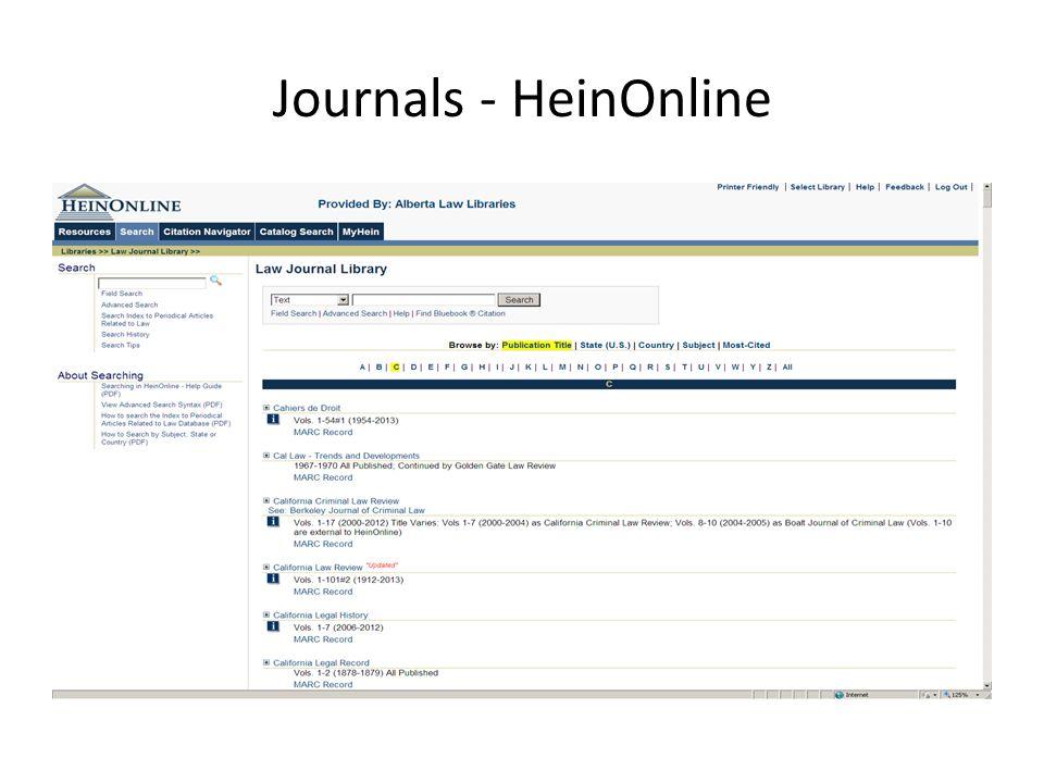 Journals - HeinOnline