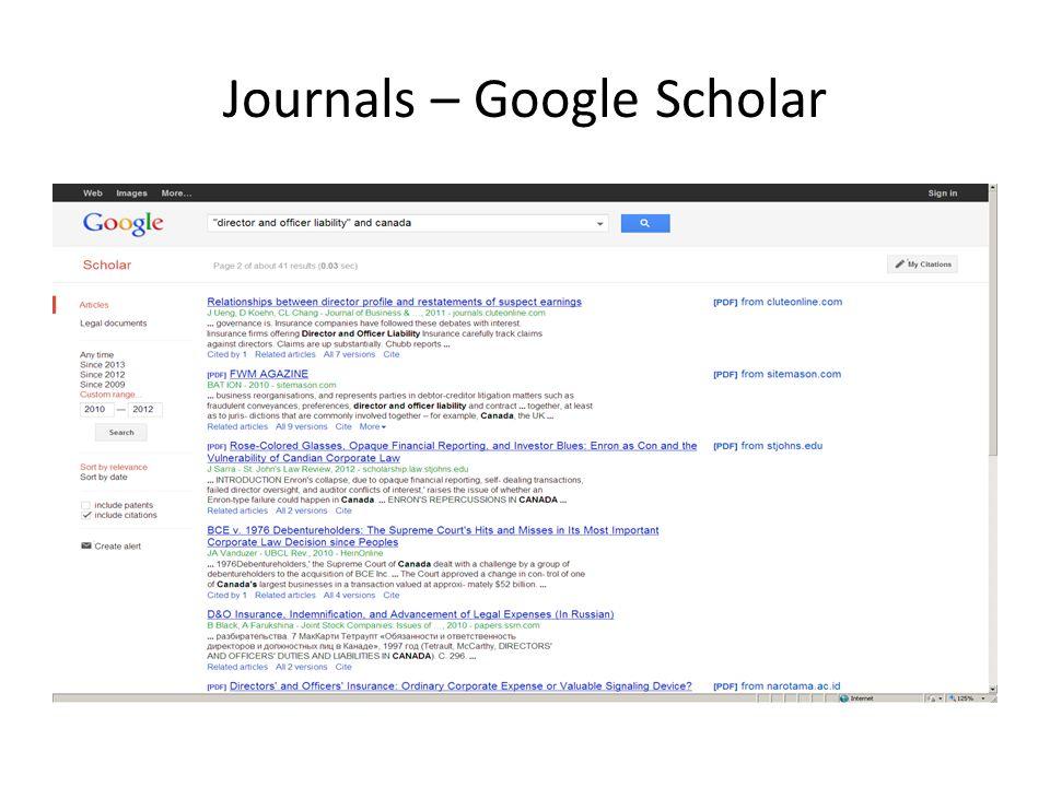 Journals – Google Scholar