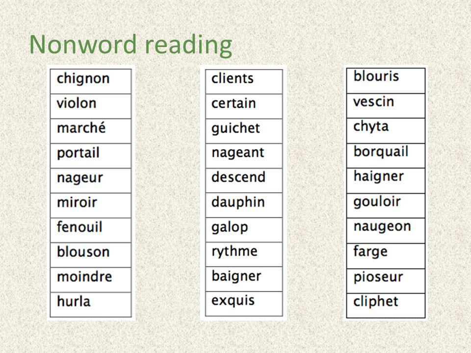 Nonword reading