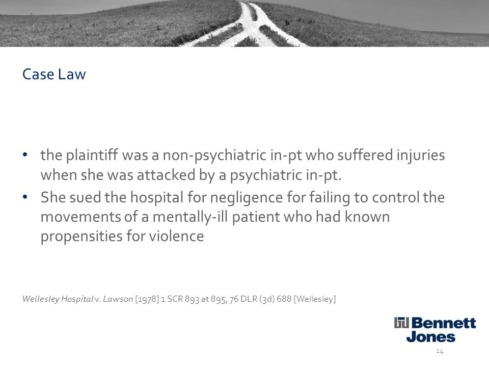 the plaintiff was a non-psychiatric in-pt who suffered injuries when she was attacked by a psychiatric in-pt.